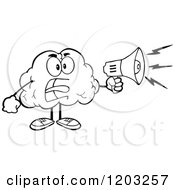 Cartoon Of A Black And White Brain Mascot Using A Megaphone Royalty Free Vector Clipart