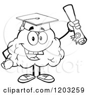 Black And White Happy Brain Mascot Graduate Holding A Diploma