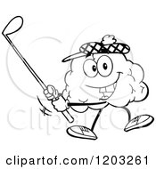 Cartoon Of A Black And White Happy Brain Mascot Golfing Royalty Free Vector Clipart by Hit Toon