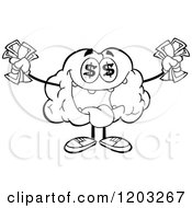 Cartoon Of A Black And White Brain Mascot With Dollar Eyes And Cash 2 Royalty Free Vector Clipart