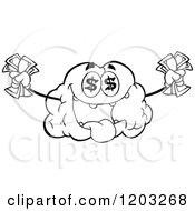 Cartoon Of A Black And White Brain Mascot With Dollar Eyes And Cash Royalty Free Vector Clipart