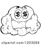 Cartoon Of A Black And White Brain Mascot With Dollar Eyes Royalty Free Vector Clipart