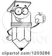 Cartoon Of A Black And White Pencil Mascot Graduate Holding An Apple Royalty Free Vector Clipart