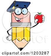 Cartoon Of A Pencil Mascot Graduate Holding An Apple Royalty Free Vector Clipart by Hit Toon