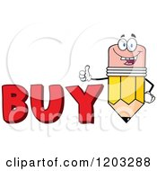 Cartoon Of A Pencil Mascot Holding A Thumb Up Over The Word BUY Royalty Free Vector Clipart by Hit Toon