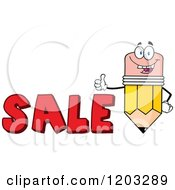 Cartoon Of A Pencil Mascot Holding A Thumb Up Over The Word SALE Royalty Free Vector Clipart by Hit Toon