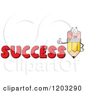 Cartoon Of A Pencil Mascot Holding A Thumb Up Over The Word SUCCESS Royalty Free Vector Clipart by Hit Toon