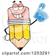 Cartoon Of A Pencil Mascot Wearing A Number 1 Foam Finger Royalty Free Vector Clipart by Hit Toon