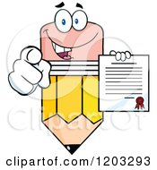 Cartoon Of A Pencil Mascot Holding A Contract And Pointing Royalty Free Vector Clipart by Hit Toon