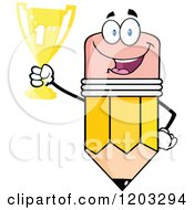 Cartoon Of A Pencil Mascot Holding A Trophy Royalty Free Vector Clipart by Hit Toon