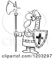 Cartoon Of An Outlined Angry Medieval Castle Guard With An Axe And Shield Royalty Free Vector Clipart by toonaday