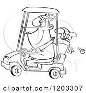 Cartoon Of An Outlined Happy Man Driving A Golf Cart Royalty Free Vector Clipart
