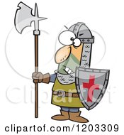 Cartoon Of An Angry Medieval Castle Guard With An Axe And Shield Royalty Free Vector Clipart by toonaday