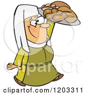 Cartoon Of A Happy Medieval Castle Baker Woman Carrying Bread Royalty Free Vector Clipart by toonaday