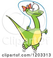 Cartoon Of A Happy Green Female Dinosaur Playing With A Jump Rope Royalty Free Vector Clipart by toonaday