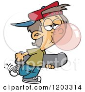Cartoon Of A White Teen Boy Blowing A Bubble With Gum And Carrying A Skateboard Royalty Free Vector Clipart