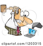 Cartoon Of An Angry White Businessman Whacking A Broken Laptop With A Mallet Royalty Free Vector Clipart