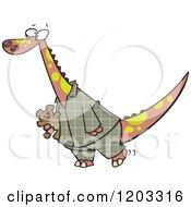 Dinosaur In Plaid Pajamas Carrying A Teddy Bear