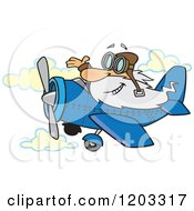 Cartoon Of A Happy Old White Man Waving And Flying A Plane Royalty Free Vector Clipart