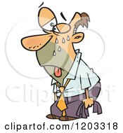 Cartoon Of A Hot Sweaty White Business Man About To Pass Out Royalty Free Vector Clipart