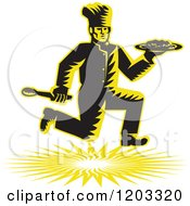 Retro Woodcut Chef Running With A Plate And Spoon