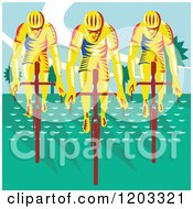Clipart Of A Retro Woodcut Cyclist Trio On Bicycles Royalty Free Vector Illustration by patrimonio