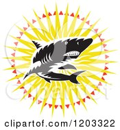 Clipart Of A Retro Woodcut Black And White Shark In A Sunburst Royalty Free Vector Illustration
