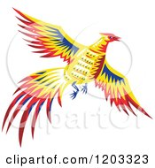 Clipart Of A Retro Pheasant Bird Flying Royalty Free Vector Illustration