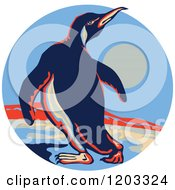 Clipart Of A Retro Emperor Penguin On Ice In A Circle Scene Royalty Free Vector Illustration