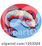 Clipart Of A Retro Jumping Catfish Over A Red And Blue Oval Royalty Free Vector Illustration by patrimonio