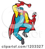 Clipart Of A Cartoon Super Plumber Jumping With A Monkey Wrench And Plunger Royalty Free Vector Illustration