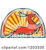 Clipart Of A Retro Deer Stag Leaping Over An Arch Of Rays Royalty Free Vector Illustration