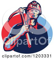 Clipart Of A Retro Coal Miner With A Hard Hat And Pick Axe Over A Blue And Red Oval Royalty Free Vector Illustration