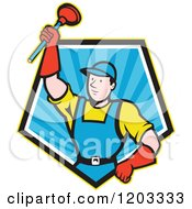 Cartoon Super Plumber Holding Up A Plunger In A Blue Ray Pentagon