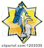 Clipart Of A Retro Police Officer And Dog In A Ray Burst Royalty Free Vector Illustration