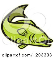 Clipart Of A Green Cartoon Largemouth Bass Fish Royalty Free Vector Illustration by patrimonio