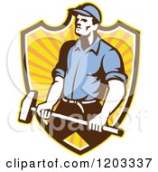 Clipart Of A Retro Worker Man Holding A Sledgehammer Over A Ray Shield Royalty Free Vector Illustration