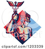 Clipart Of A Retro Mercury Roman God Holding A Caduceus In A Red And Blue Diamond Royalty Free Vector Illustration by patrimonio