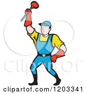 Clipart Of A Cartoon Super Plumber Holding Up A Plunger Royalty Free Vector Illustration