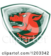 Clipart Of A Retro Red Angry Dog Over A Shield Of Rays Royalty Free Vector Illustration