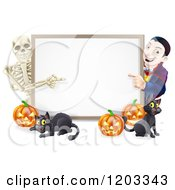 Cartoon Of A Happy Vampire Skeleton Pumpkins And Black Cat Around A Blank Sign Royalty Free Vector Clipart by AtStockIllustration