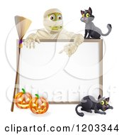 Cartoon Of A Happy Mummy And A Black Cat Over A Halloween Sign With A Broomstick And Pumpkins Royalty Free Vector Clipart