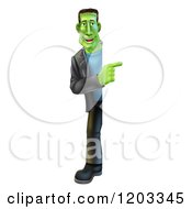 Cartoon Of A Full Length Happy Smiling Frankenstein Looking Around And Pointing To A Sign Royalty Free Vector Clipart by AtStockIllustration