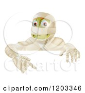 Cartoon Of A Happy Halloween Mummy Pointing Down At A Sign Royalty Free Vector Clipart