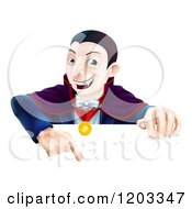 Cartoon Of A Happy Vampire Pointing Down At A Sign Royalty Free Vector Clipart by AtStockIllustration