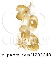 Clipart Of A 3d Golden Year 2013 With Christmas Baubles Royalty Free Vector Illustration
