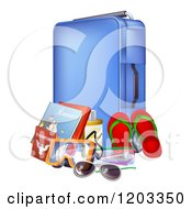 Cartoon Of A Blue Suitcase With Travel Essentials Royalty Free Vector Clipart by AtStockIllustration