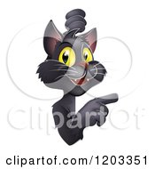 Cartoon Of A Happy Yellow Eyed Black Cat Looking Around And Pointing At A Sign Royalty Free Vector Clipart