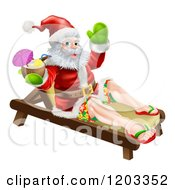 Cartoon Of A Santa Waving In Surf Shorts And Drinking A Cocktail On A Beach Lounge Chair Royalty Free Vector Clipart