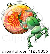 Cartoon Of A Green Dung Beetle Pushing A Christmas Bauble Royalty Free Vector Clipart